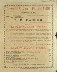Advert for PH Garner, coal merchants
